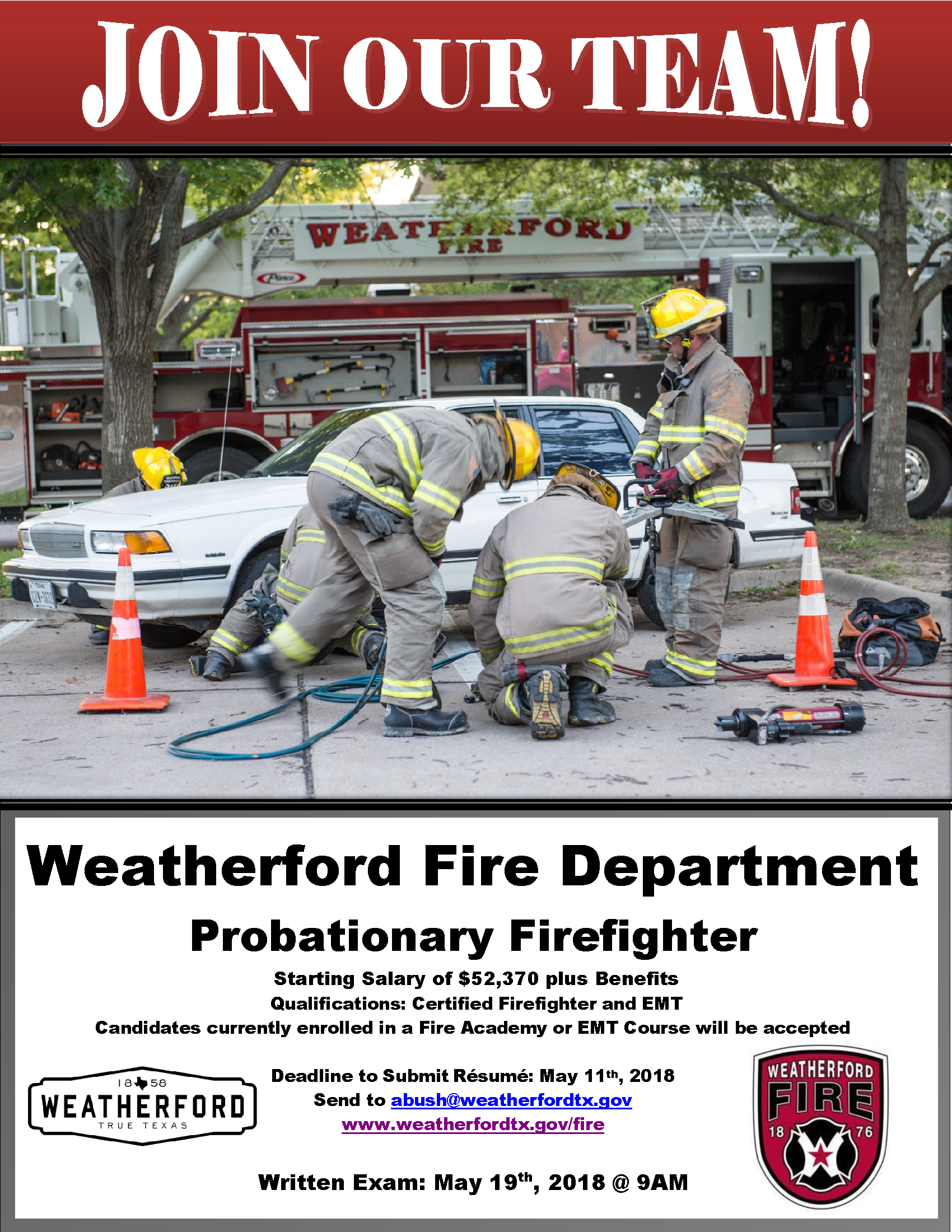 Probationary Firefighter Selection 2018 Flyer