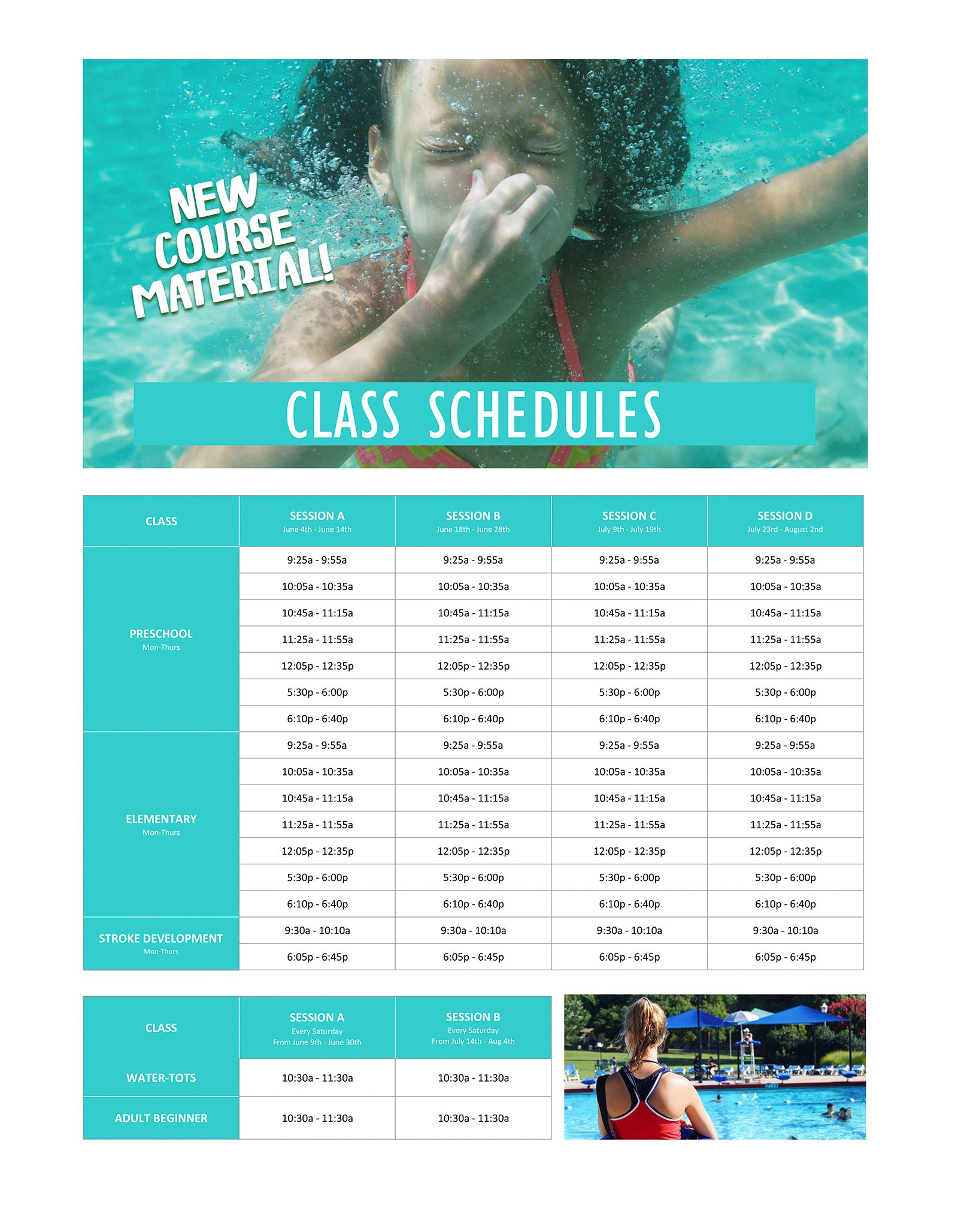 Learn to Swim Class Schedule