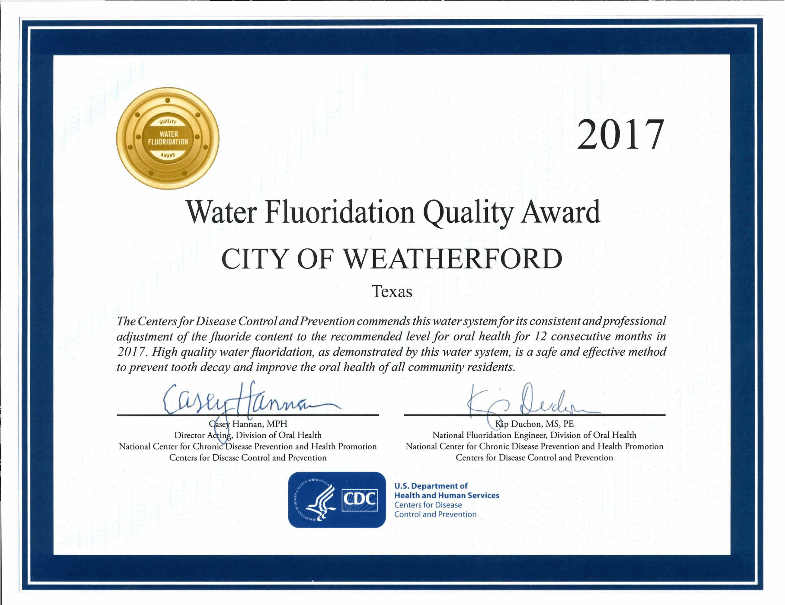 Water Fluoridation Quality Award