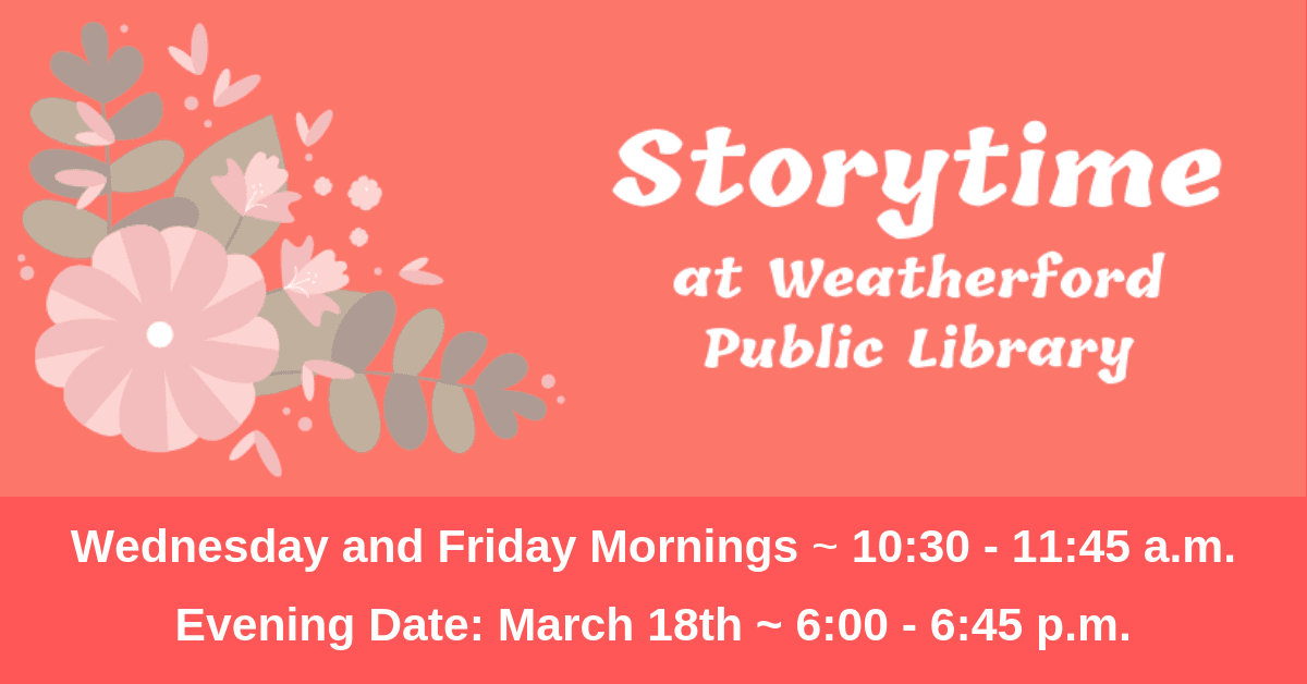 Storytime - March Carousel Image - Click for more information.