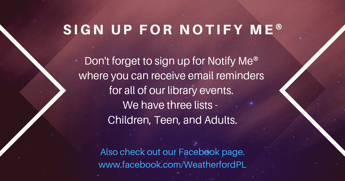 Notify Me Carousel Image - Click to sign-up for email notices.