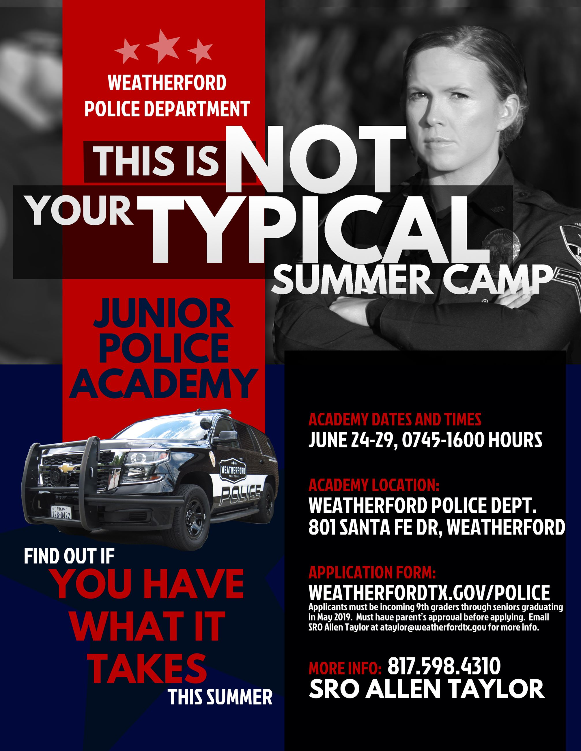 Junior Police Academy Flyer Vanzant