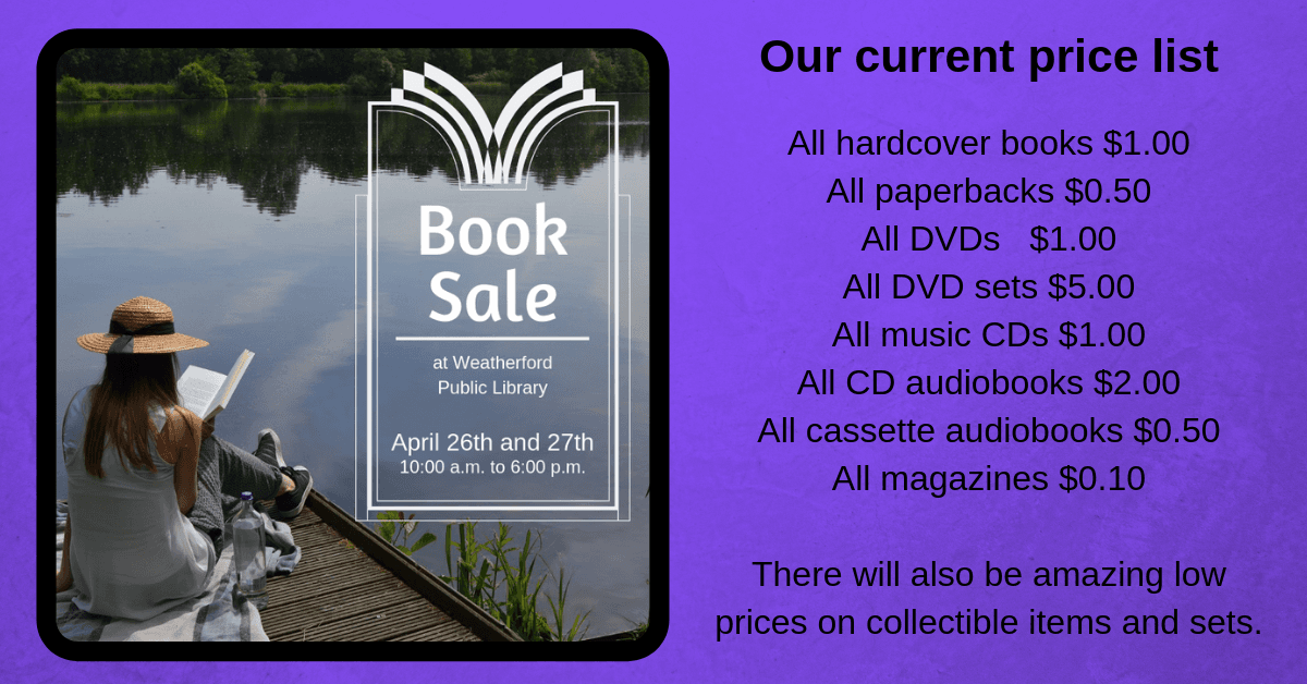 April Book Sale 2019 - Click image for more information.