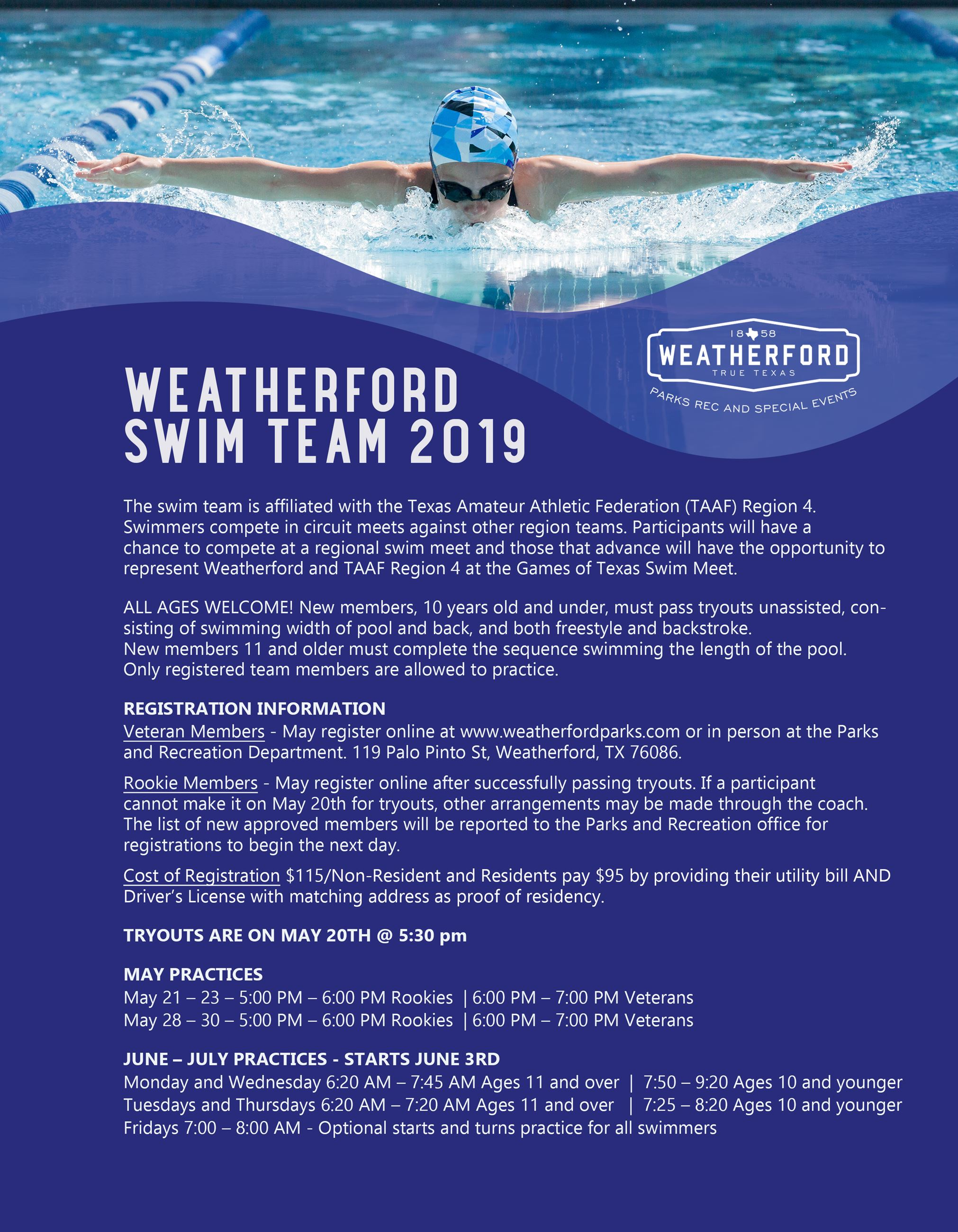 2019 Weatherford Swim Team Flyer