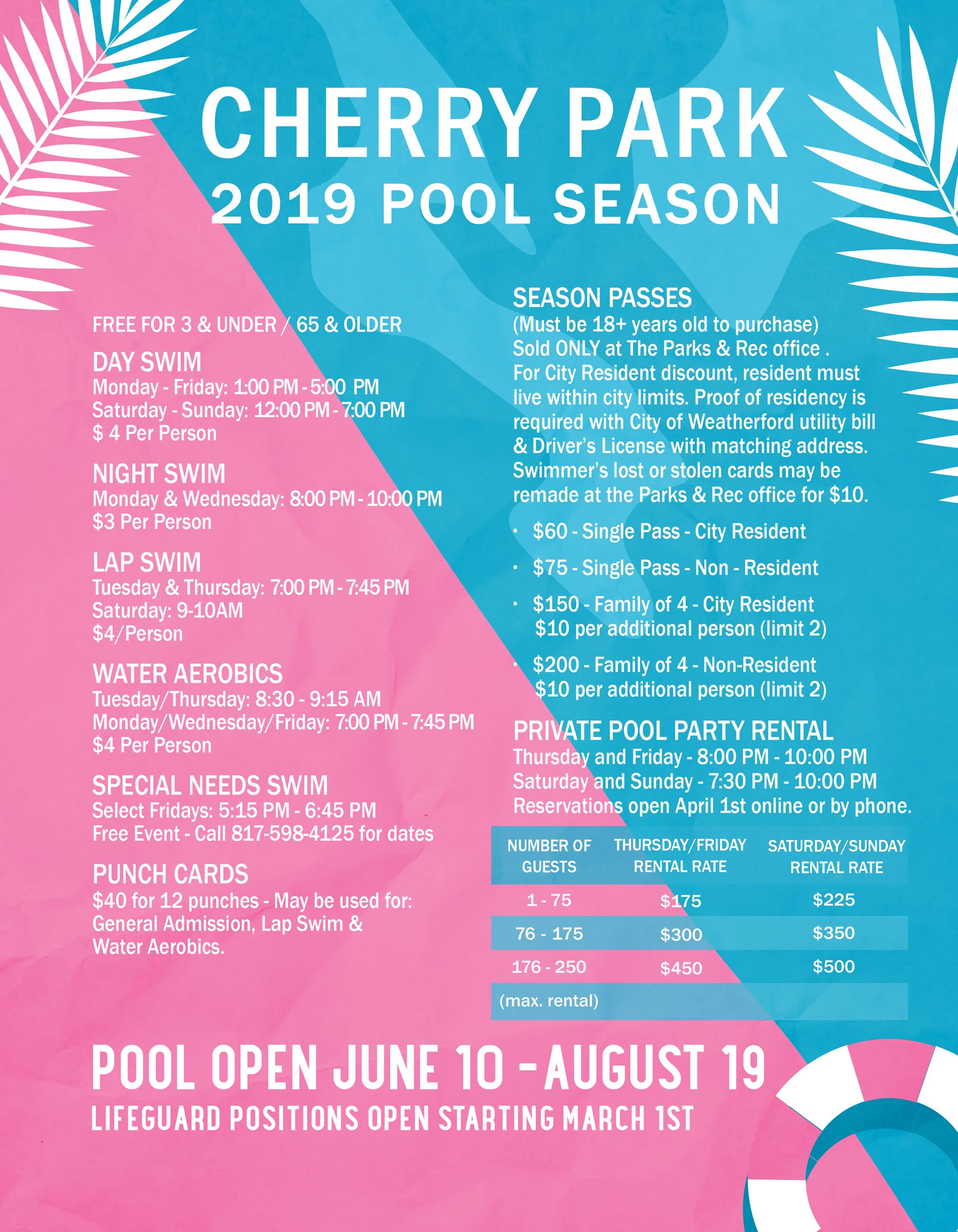 Pool Hours and info UPDATED