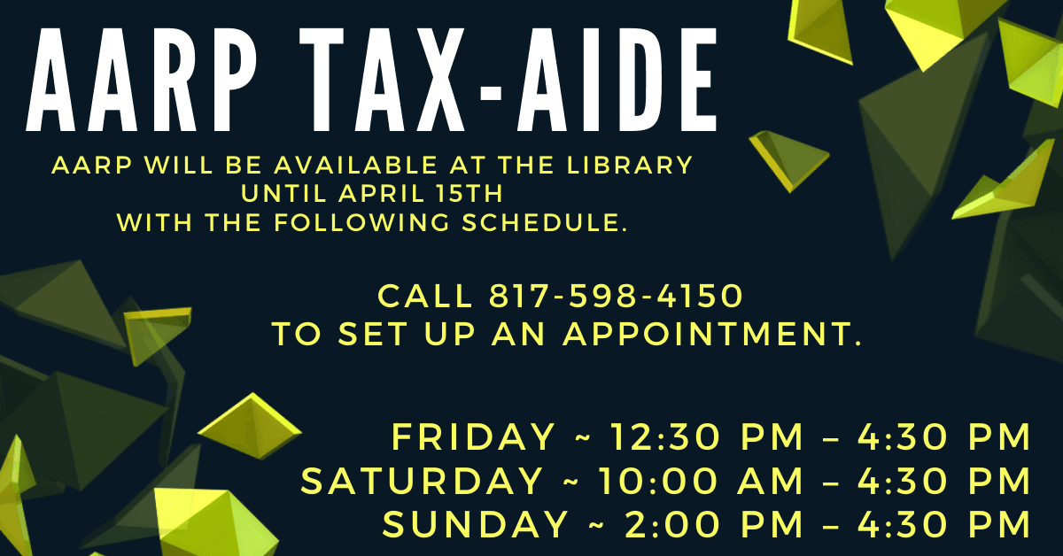 AARP Tax Help Image - Call 817-598-4150 to schedule an appointment.