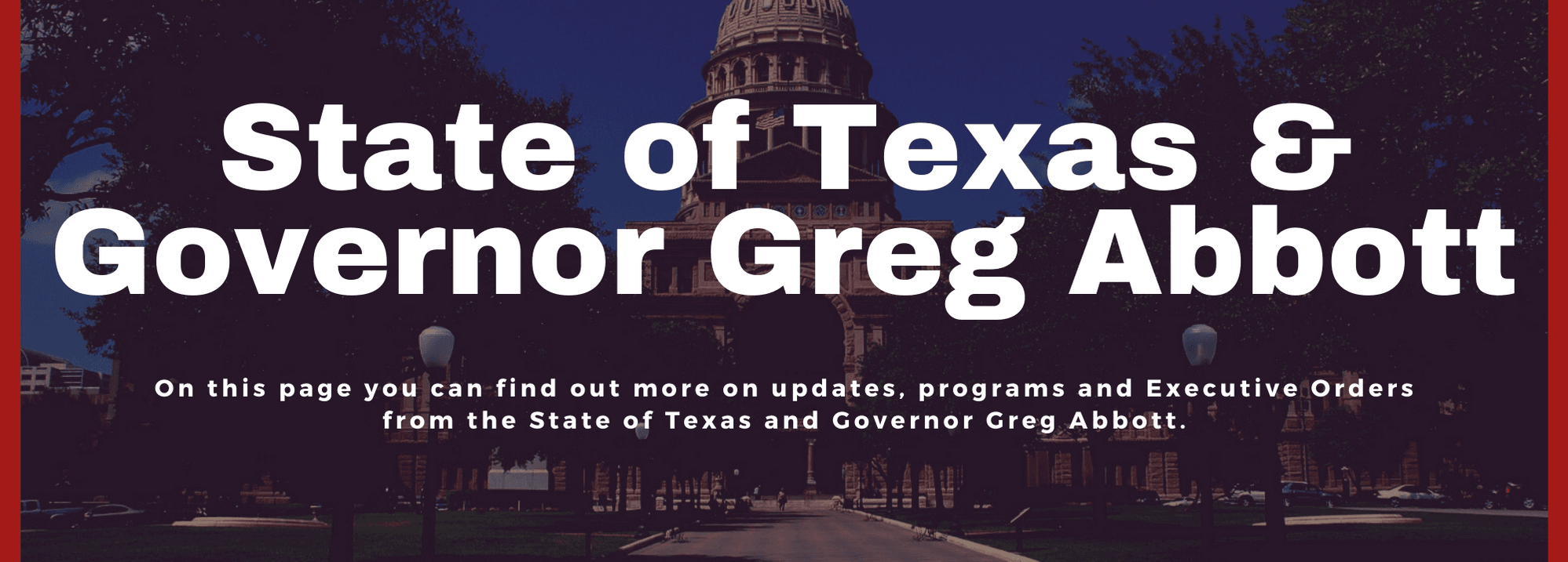State of Texas and Greg Abbott - website banners