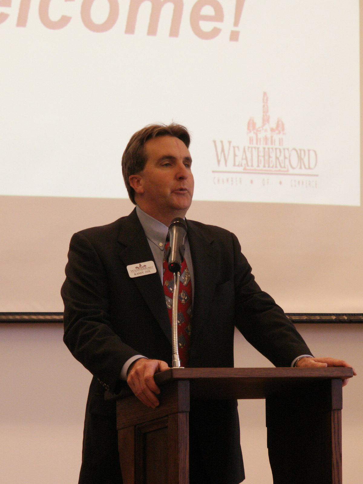 Emcee, Randy Cox, Chairman Elect, Weatherford Chamber of Commerce