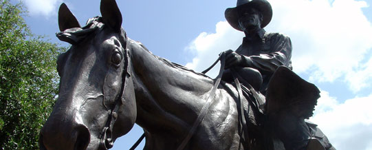 Picture of Cutting Horse and Rider Bronze Statue at Chamber of Commerce
